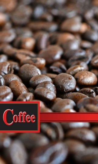 Coffee Beans and ribbon